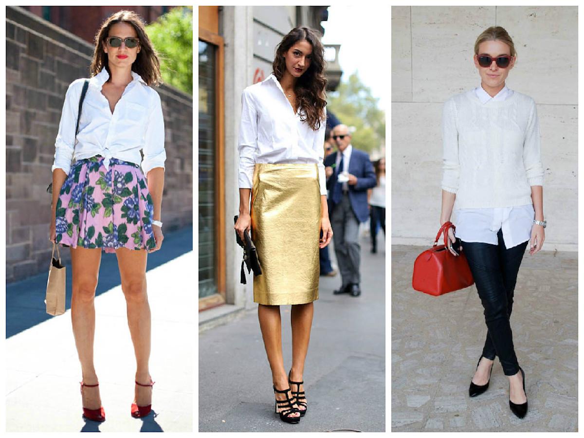 Модные образы с белой рубашкой
